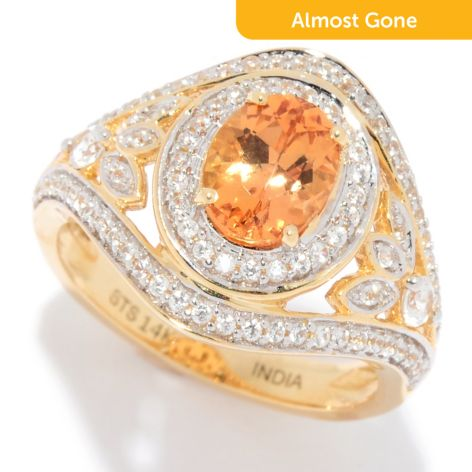 Gem Treasures®, 14K Gold 1 84ctw, Imperial Topaz, & White Zircon, Halo Ring