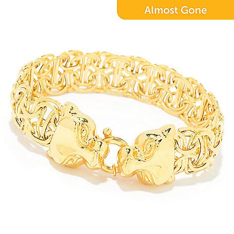 167 725 Stefano Oro 14k Gold Electroform Panther Byzantine Bracelet