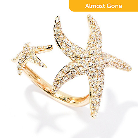 168 875 Effy Sealife 14k Gold 0 72ctw Diamond Starfish Open Band