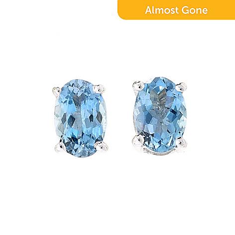 170 082 Gem Treasures Sterling Silver African Aquamarine Stud Earrings