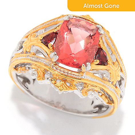 Gems En Vogue 180ctw Red Fluorite Garnet 3 Stone Ring Evine