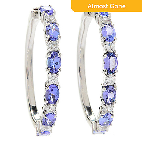 6a88f5139 174-406- Gem Treasures® Sterling Silver Choice of Size Tanzanite & White  Zircon