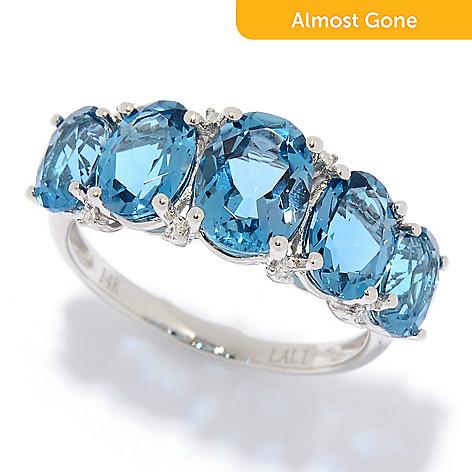 8c9e33211201b Fierra™ 14K Gold Gemstone & Diamond Graduated 5-Stone Band Ring - EVINE