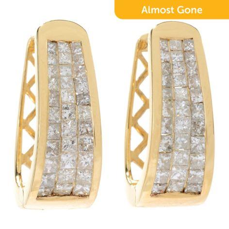Diamond Treasures Elite Dream 14k Gold Diamond Huggie Hoop