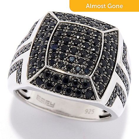 9ba14cdb49e9da 175-726- EFFY Men's Sterling Silver 2.37ctw Black Sapphire Cluster  Statement Ring