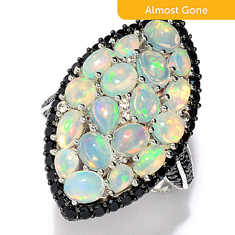 81fc99fe1 175-971- Victoria Wieck Collection Sterling Silver Ethiopian Opal & Black  Spinel Ring