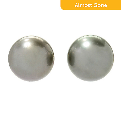 ba37bfa56 176-624- Kwan Collections 14K Gold 12-13mm Tahitian Cultured Pearl Stud  Earrings