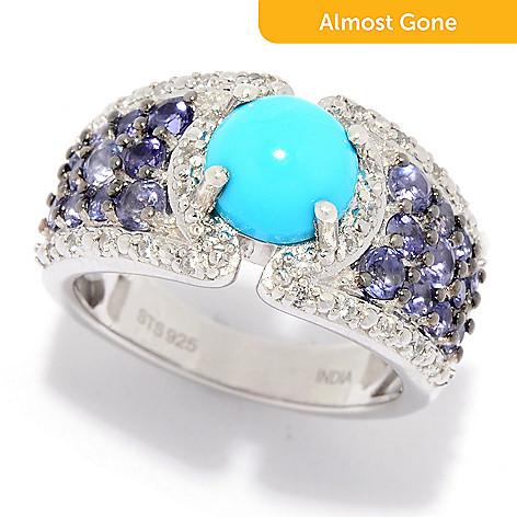 32dfa7679a6f00 179-599- Gem Treasures® Sleeping Beauty Turquoise, Iolite & White Zircon  Band