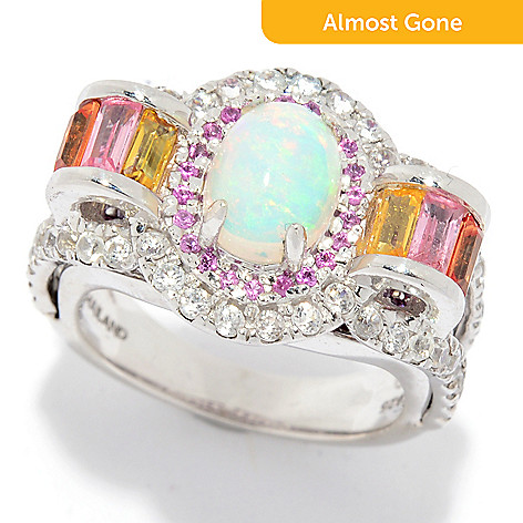 470b07415 179-791- Victoria Wieck Collection Sterling Silver Ethiopian Opal & Multi  Gem Ring
