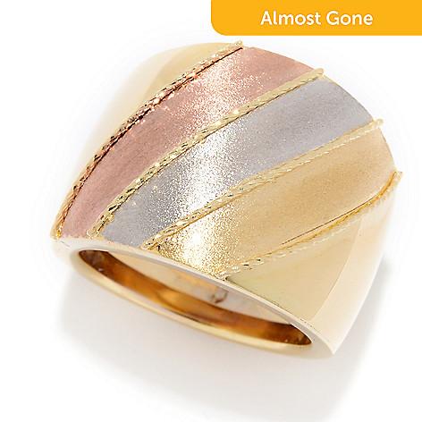 169e2aece 180-075- Viale18K® Italian Gold Tri-Color Striped Wide Bombe Band Ring