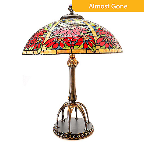 Tiffany style 305 double poinsettia stained glass table lamp evine 468 013 tiffany style 305 double poinsettia stained glass table lamp aloadofball Image collections