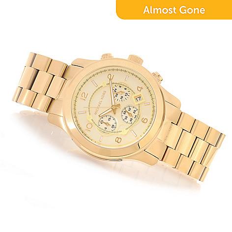 427621193e7 629-434- Michael Kors Women s Oversized Runway Quartz Chronograph Stainless  Steel Bracelet Watch