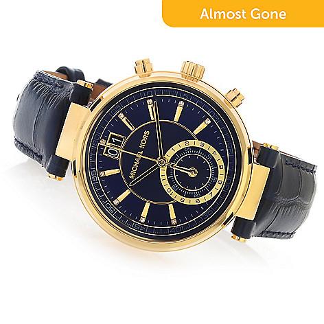 a7a3599d9 644-434- Michael Kors Women's Sawyer Quartz Chronograph Sunray Dial Leather  Strap Watch