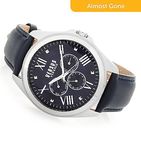 658-973- Versus Versace Men s 44mm Elmont Quartz Leather Strap Watch 1345cdcd60965