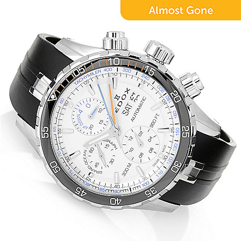 1506098cd 661-534- EDOX Men's 45mm Grand Ocean Swiss Made Automatic Chronograph  Rubber Strap Watch