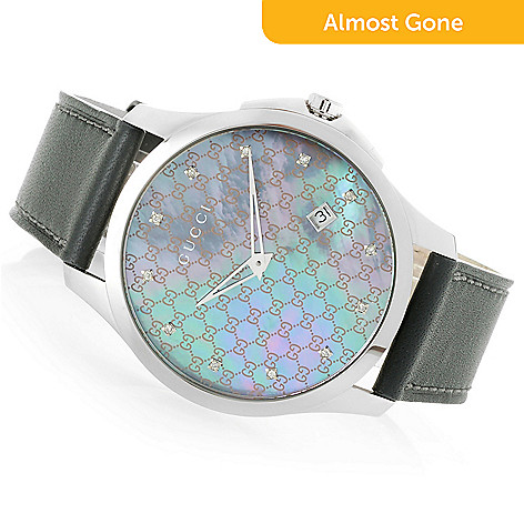 1f1042907f3 Gucci Women s G-Timeless Swiss Made Quartz Mother-of-Pearl Leather ...