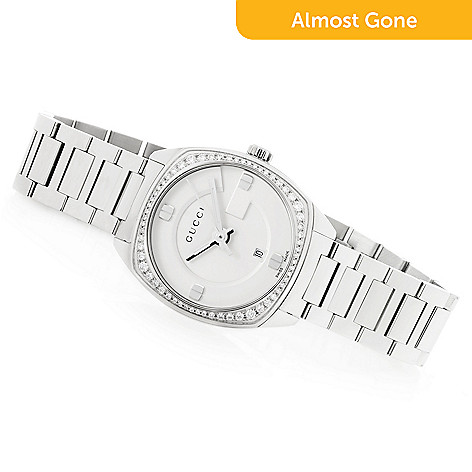 1bc0fe2607b 663-842- Gucci Women s Swiss Made Quartz Sapphire Crystal Diamond Accented  Stainless Steel Bracelet