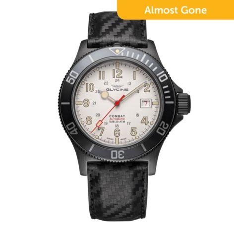 Glycine Men S 42mm Combat Sub Swiss Made Automatic Leather Carbon Fiber Strap Watch