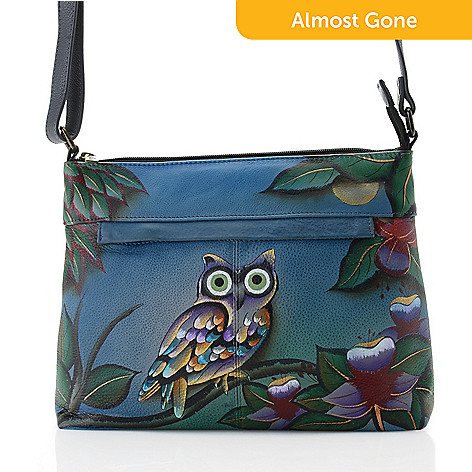 Anuschka Hand-Painted Leather Zip Top Crossbody Bag w  Card Holder ... f7b7e6ce4c815