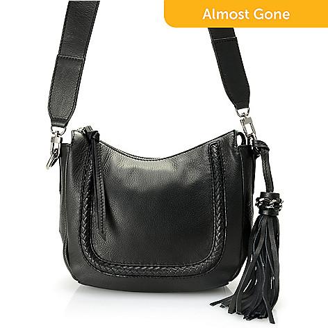 732 212 Kooba Handbags Peyton Leather Braid Tassel Detailed Crossbody Bag