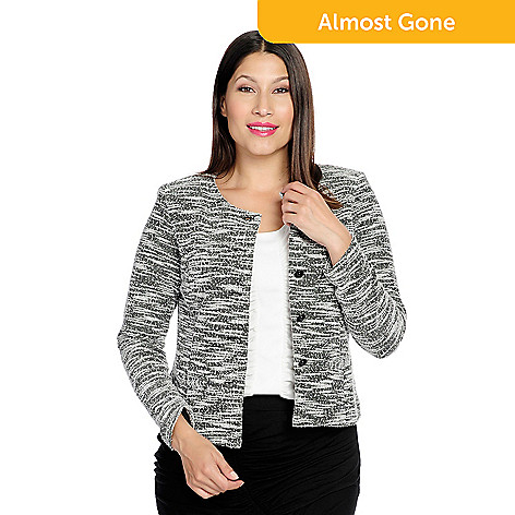 3d79b1ce2f8 735-038- V. by Vanessa Williams Tweed Knit Long Sleeve Front Button Jacket