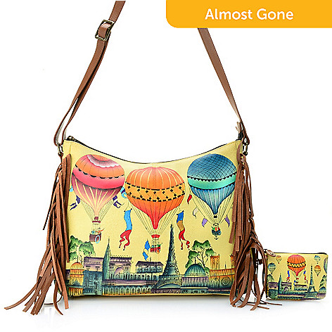 de464a45aab7 735-684- Anuschka Hand-Painted Leather Fringed Hobo Bag w  RFID Blocking