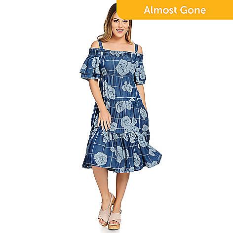 5fd6efdc398e 737-143- OSO Casuals® Tencel Denim Smocked Neck Tiered Dress w  Removable