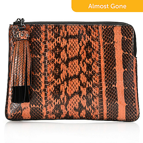 737 172 Sharif Couture Snake Skin Leather Zip Top Tassel Detailed Clutch W