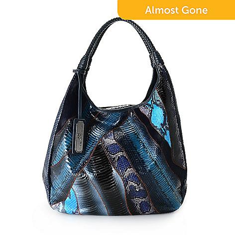 739 411 Sharif Couture Melange Snakeskin Haircalf Leather Woven Handle Hobo Handbag
