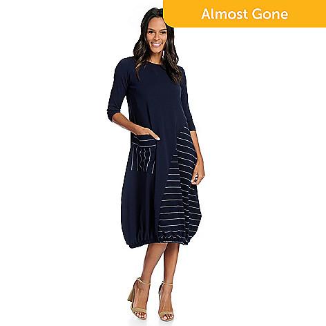 81458fc33 739-432- Studio Nouveau Knit 3/4 Sleeve Pocket Bubble Dress