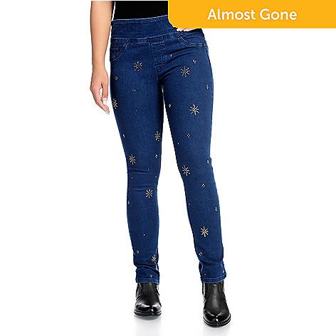 172b21bae674 One World Denim 3-Pocket Embellished Flexi-Fit Pull-on Skinny Jeans ...