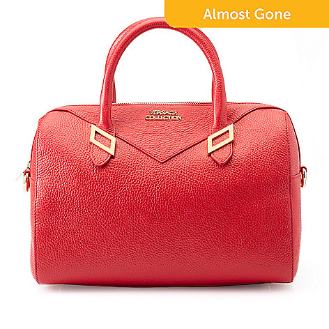 294b4d74f24c7b 739-958- Versace Collection Pebbled Leather Zip Top Barrel Satchel w/  Removable Strap