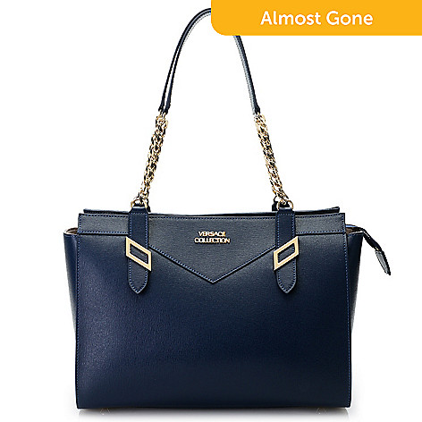 d7b7b41a5d61 739-959- Versace Collection Saffiano Leather Chain Detailed Zip Top Tote Bag