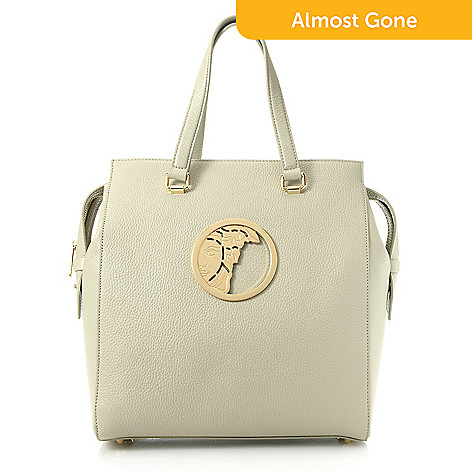 df4f7bafb19 739-960- Versace Collection Pebbled Leather Medusa Medallion Top Handle Bag