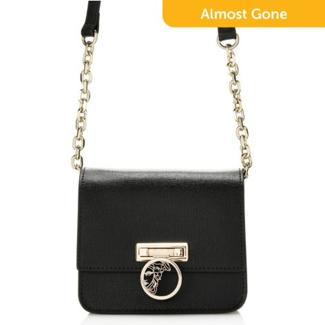 ee08ca0e Versace Collection, Saffiano Leather, Flap-over, Chain Detailed, Mini  Crossbody Bag