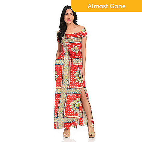 07d0301921e5 Band of Gypsies Woven Short Sleeve Off-the-Shoulder Smocked Bodice ...