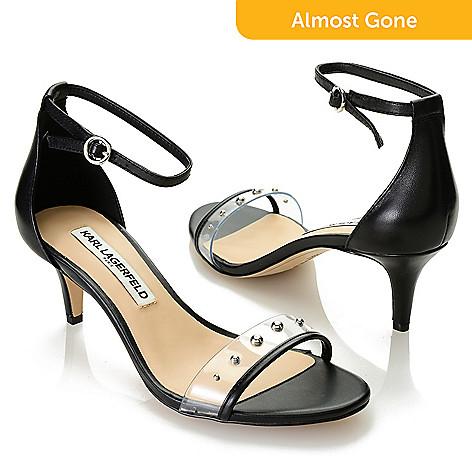 8c4c6f4a6f 742-789- Karl Lagerfeld Leather Stud Detailed Kitten Heel Sandals