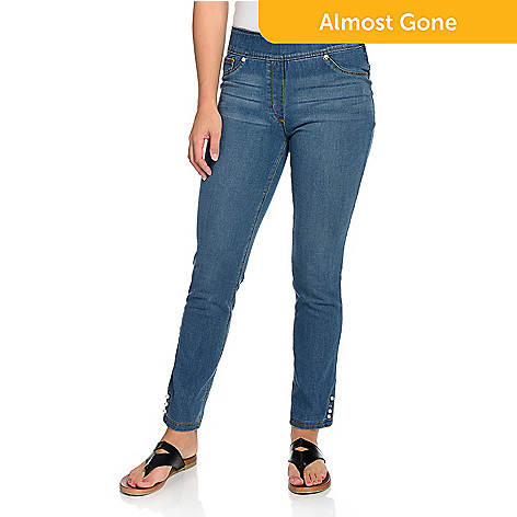 95574e0705 Nygård Slims, Stretch Denim, Elastic Waist, Faux Pearl Studded, Skinny Leg  Jeans