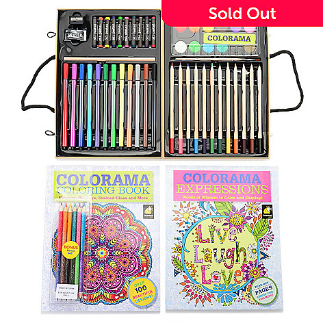 001 532 Colorama Set Of Two Coloring Books W Six Pencils 51pc
