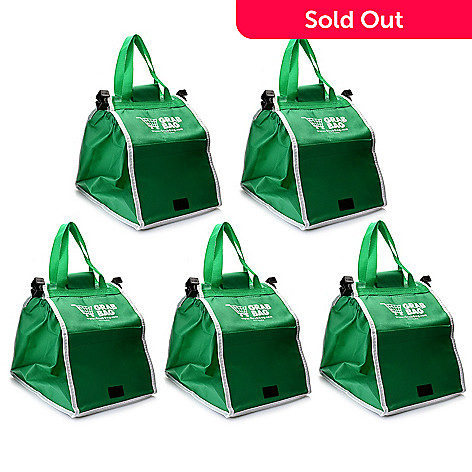 dddb1d8555 001-748- Grab Bags Set of 5 Deluxe Green Reusable Bags