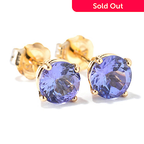 117 483 Gem Treasures 14k White Or Yellow Gold Tanzanite Stud Earrings