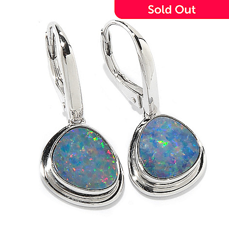 c471fde52 118-342- Gem Insider® Sterling Silver Opal Doublet Freeform Earrings