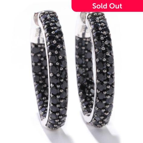 Gem Treasures Sterling Silver 4 00ctw Black Spinel Hoop Earrings