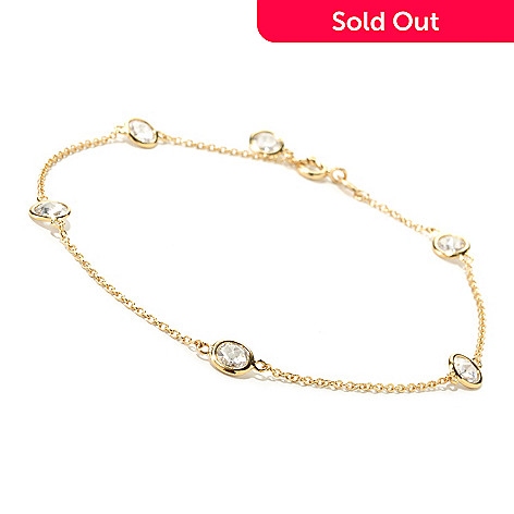 125 589 Brilliante Round Cut Bezel Set Station Simulated Diamond Ankle Bracelet