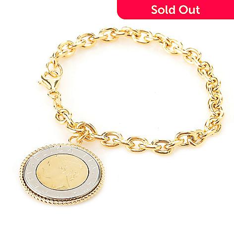128 121 Portofino 18k Gold Embraced 8 Italian Lire Coin Charm Bracelet