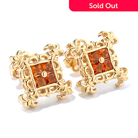 130 301 Dallas Prince Square Gemstone Fleur De Lis Stud Earrings
