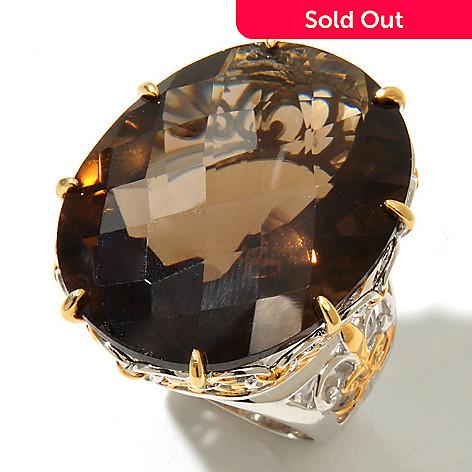 9b75062f5 131-727- Gems en Vogue 42.12ctw Smoky Quartz & Ruby Elongated Ring