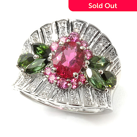 cb5cd52ac7d40 Gem Treasures® Sterling Silver 2.65ctw Diamond & Tourmaline Duo Floral Ring