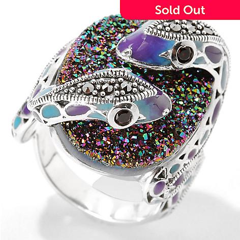 c087c332a 133-237- Dallas Prince Sterling Silver Drusy Snake Ring Made w/ Swarovski®