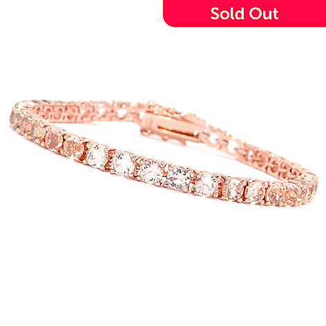 134 558 Brilliante 18k Rose Gold Embraced Simulated Morganite Tennis Bracelet